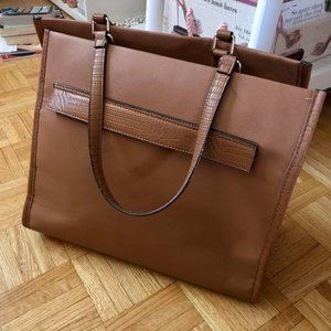 Target Brand Light Brown Leathery Laptop Tote
